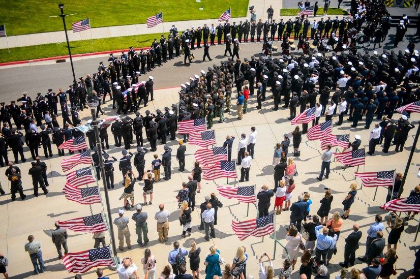 (Trent Nelson | The Salt Lake Tribune) Funeral services for Battalion Chief Matthew Burchett were held at the Maverik Center in West Valley City on Aug. 20. Burchett died during a deployment to fight the Mendocino Complex Fire in California when a tree fell on him.