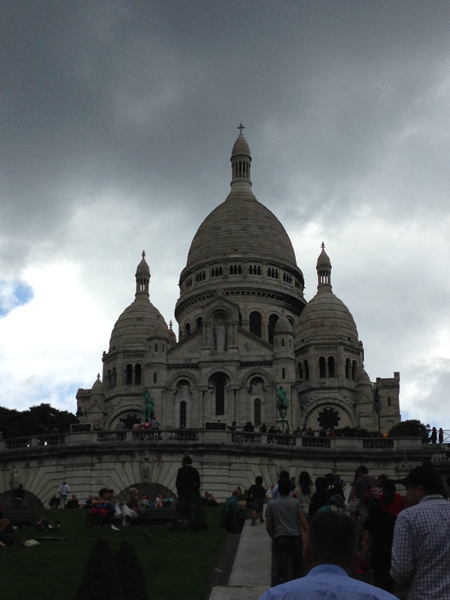 Sacre Coeur in Paris Against Stormy Skies