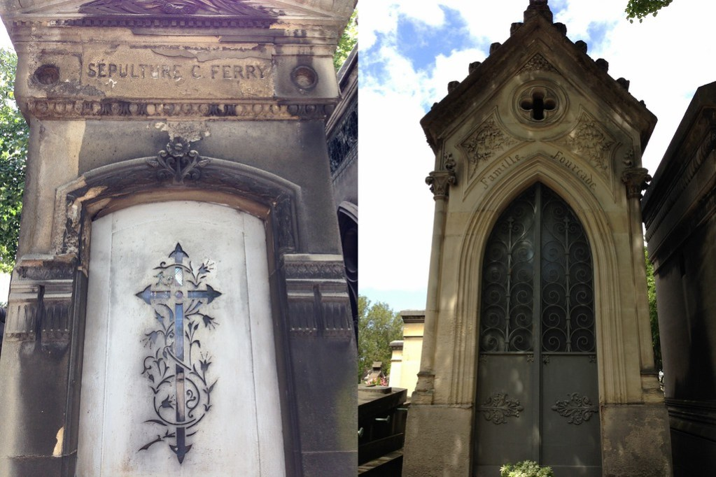 Two Aged and Beautiful Sepulchres at the Famous Montparnasse Cemetery in Paris, France