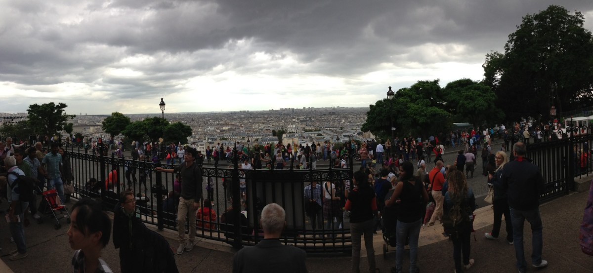 Visitors Crowd The Steps in Front of Sacre Coeur, Even on a Stormy Summer Day