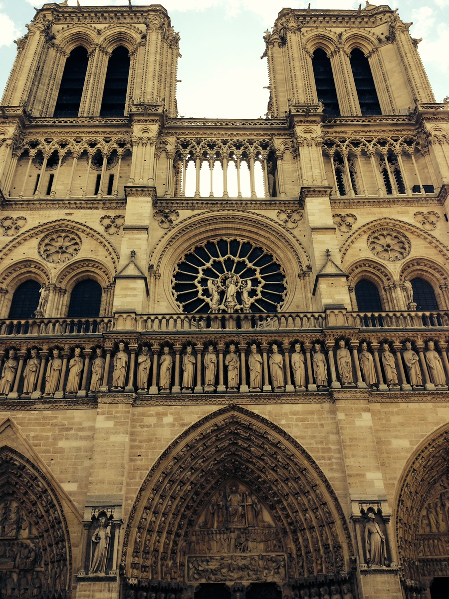 Vintage-Toned Photo of Notre Dame Cathedral in Paris, August 2014