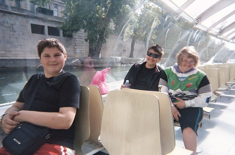 My Three Younger Siblings Riding the Batobus Along the Seine River, Paris