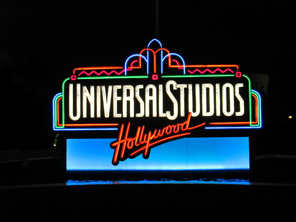 A Retro Looking Neon Universal Studios Hollywood Sign, California