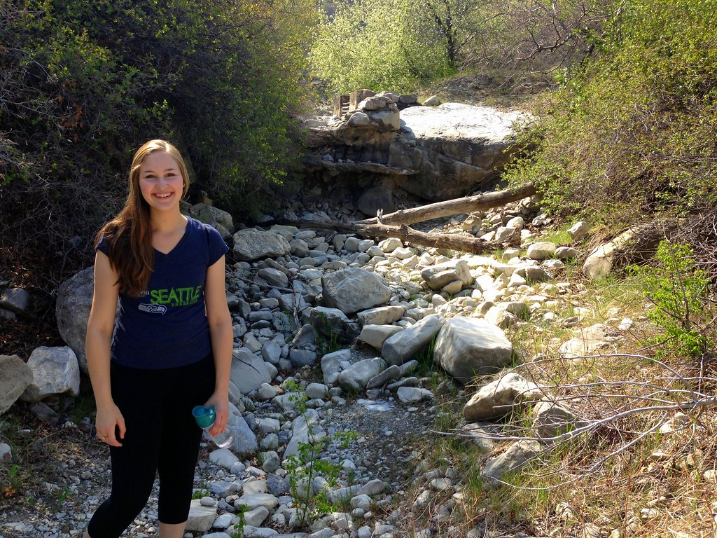 Michelle in a Rocky Stream Bed Near the Provo Canyon Trail