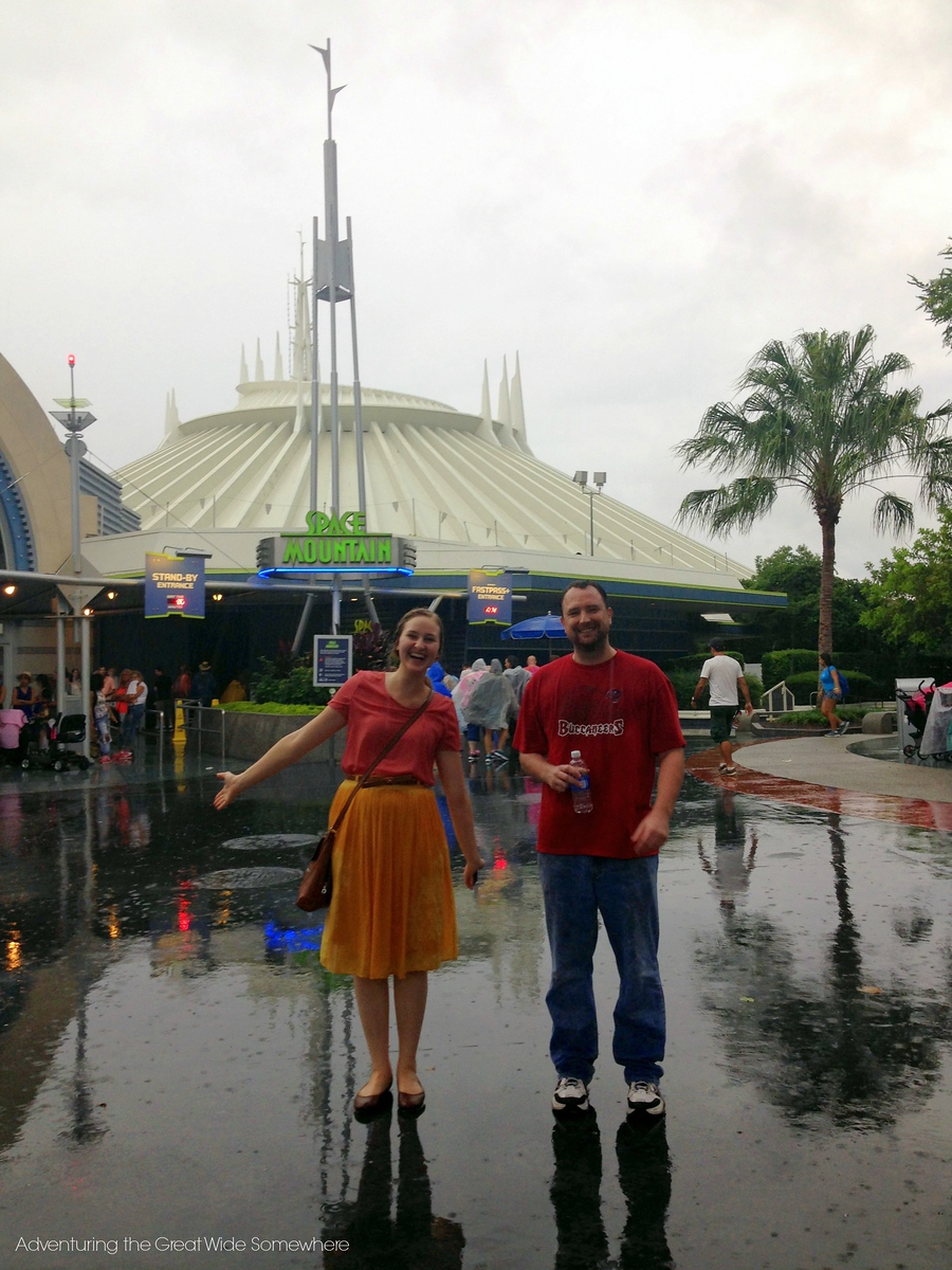 Laughing in the Rain at Walt Disney World's Space Mountain