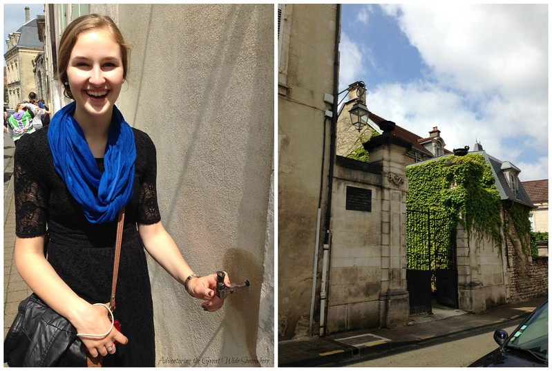 Pretty Michelle and a Shutter Holder in Chaumont Centre-Ville, France