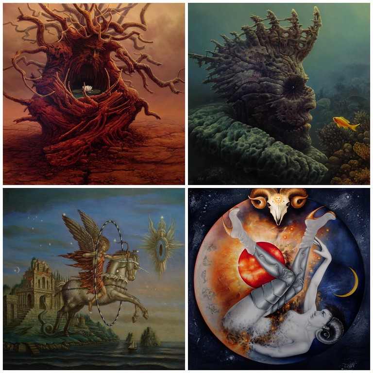 Quartet of Paintings from the Zodiac Exhibit at le College Camille de Saint-Saens de Chaumont