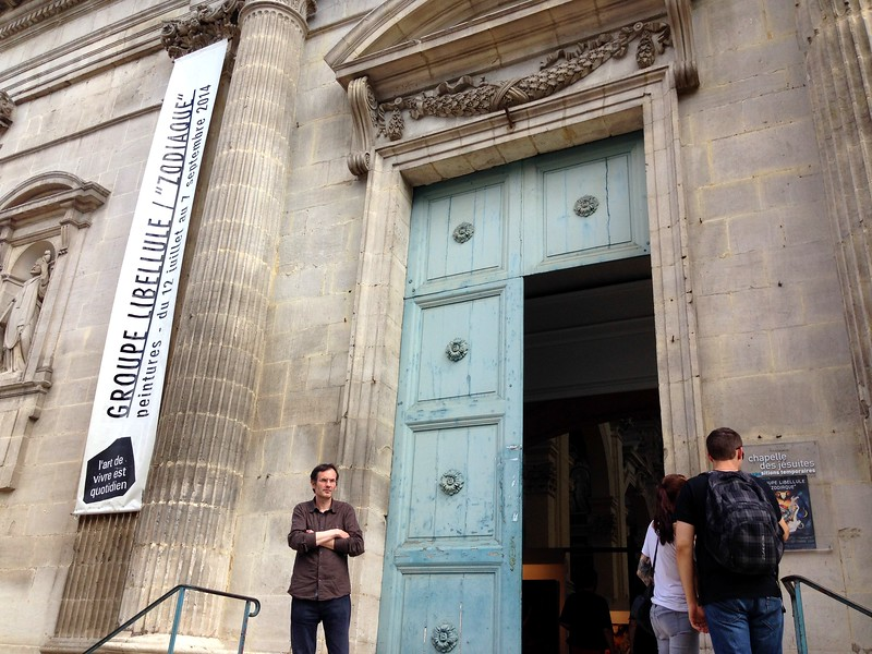 The Grand Entrance and Stunning Blue Doors of le College Camille Saint-Saens de Chaumont