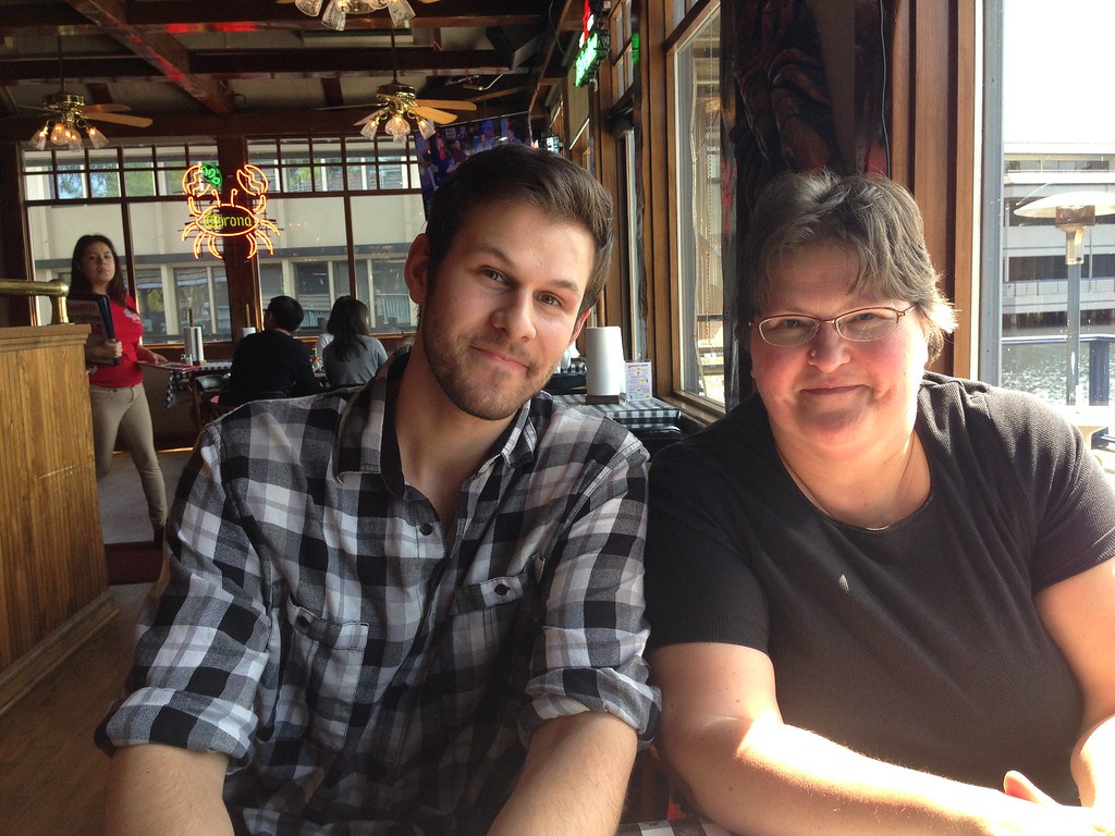 Mom and Jared at The Crab Pot in Bellevue Washington