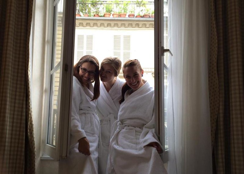 Cozied Up in Our Complimentary White Bathrobes at the Hotel H'Orset Opera in Paris, France