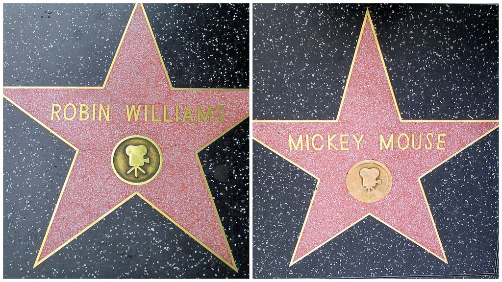 Stars for Robin Williams and Mickey Mouse on the Hollywood Walk of Fame