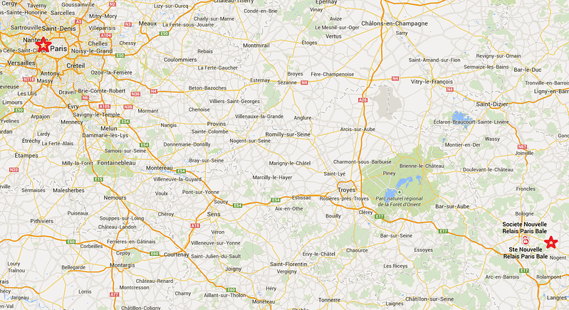 Map of Chaumont in Relation to Paris, France