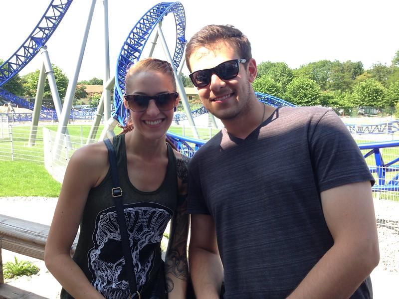 Jen and Jared Waiting for the Alpina Blitz Coaster at Nigloland