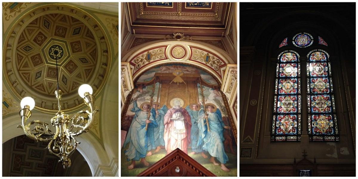 Artwork, Chandeliers and Stained Glass Inside l'Église de la Sainte-Trinité in Paris, France