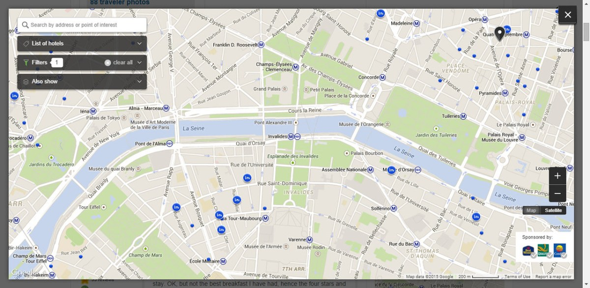 Map Screenshot Showing Our Hotel Location in Relation to the Eiffel Tower