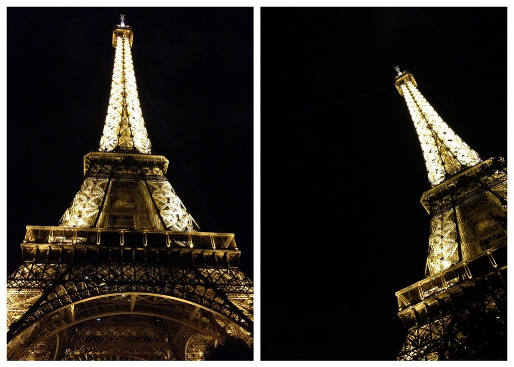 Looking Up at the Eiffel Tower at Night