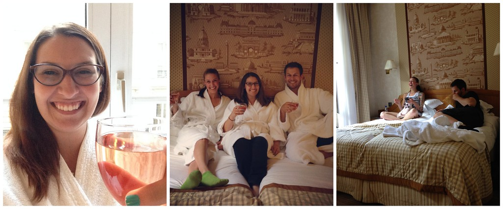 Living it Up With Wine and Fluffy White Robes in our Hotel Room in Paris