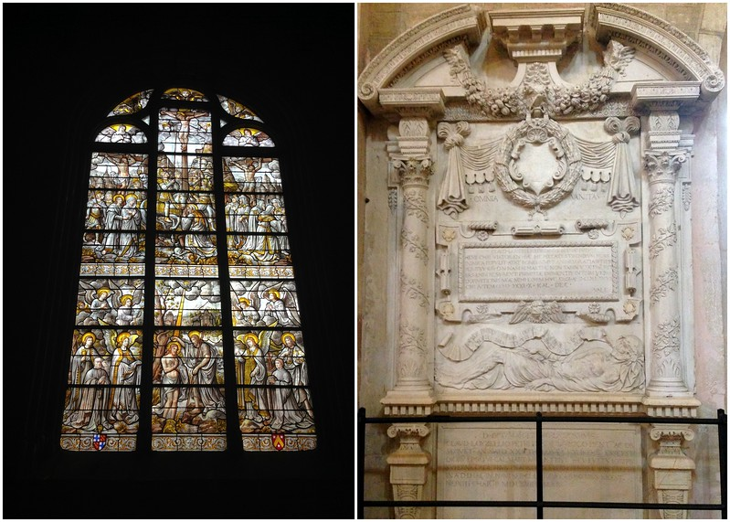 Stained Glass Window and Carved Stonework at La basilique Notre Dame de Beaune, France