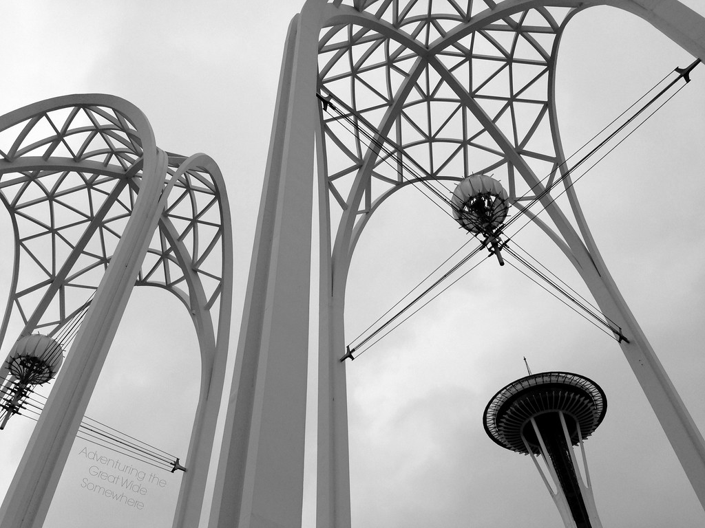 The Space Needle and Arches of the Pacific Science Center in Seattle