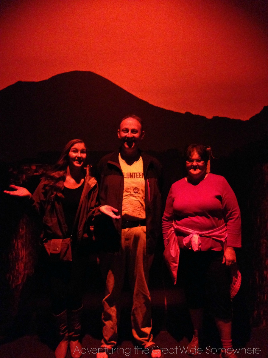 Michelle, Dad and Mom Bathed in the Red Glow of Pompeii the Exhibit