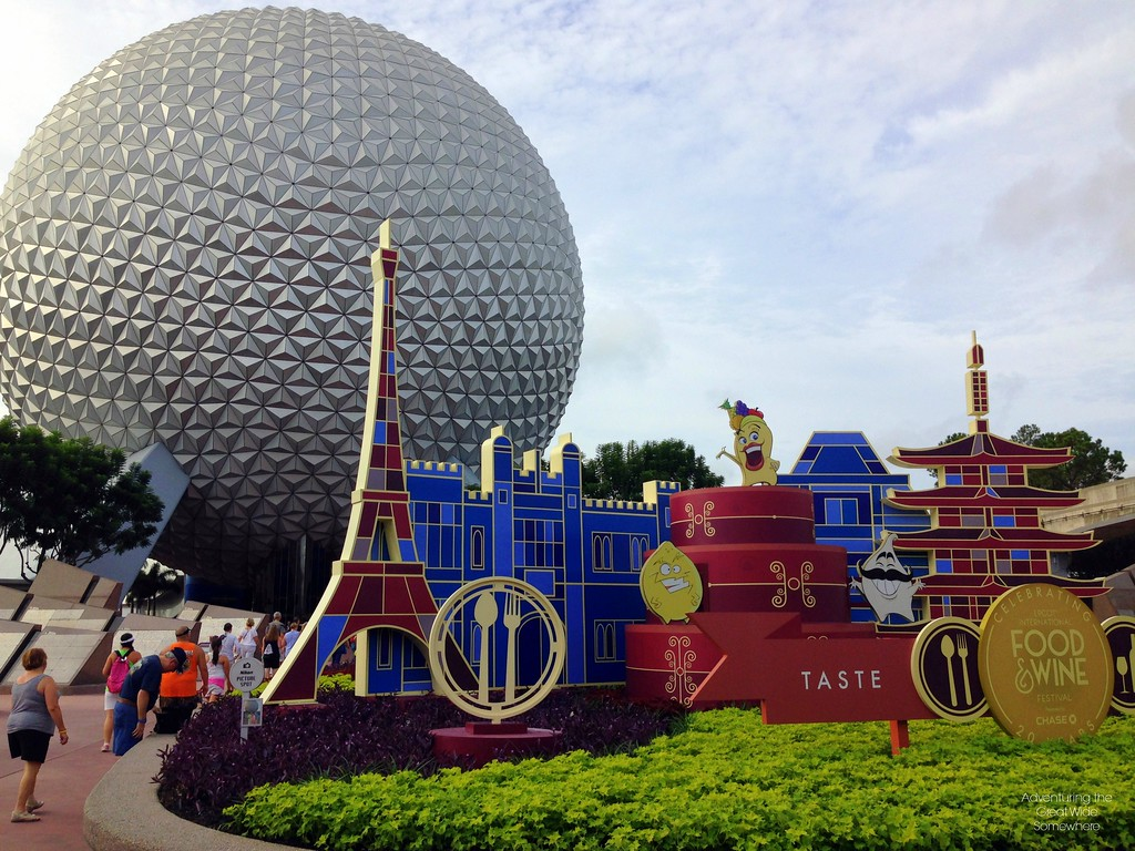 Spaceship Earth and Entrance to the 2015 Epcot International Food and Wine Festival