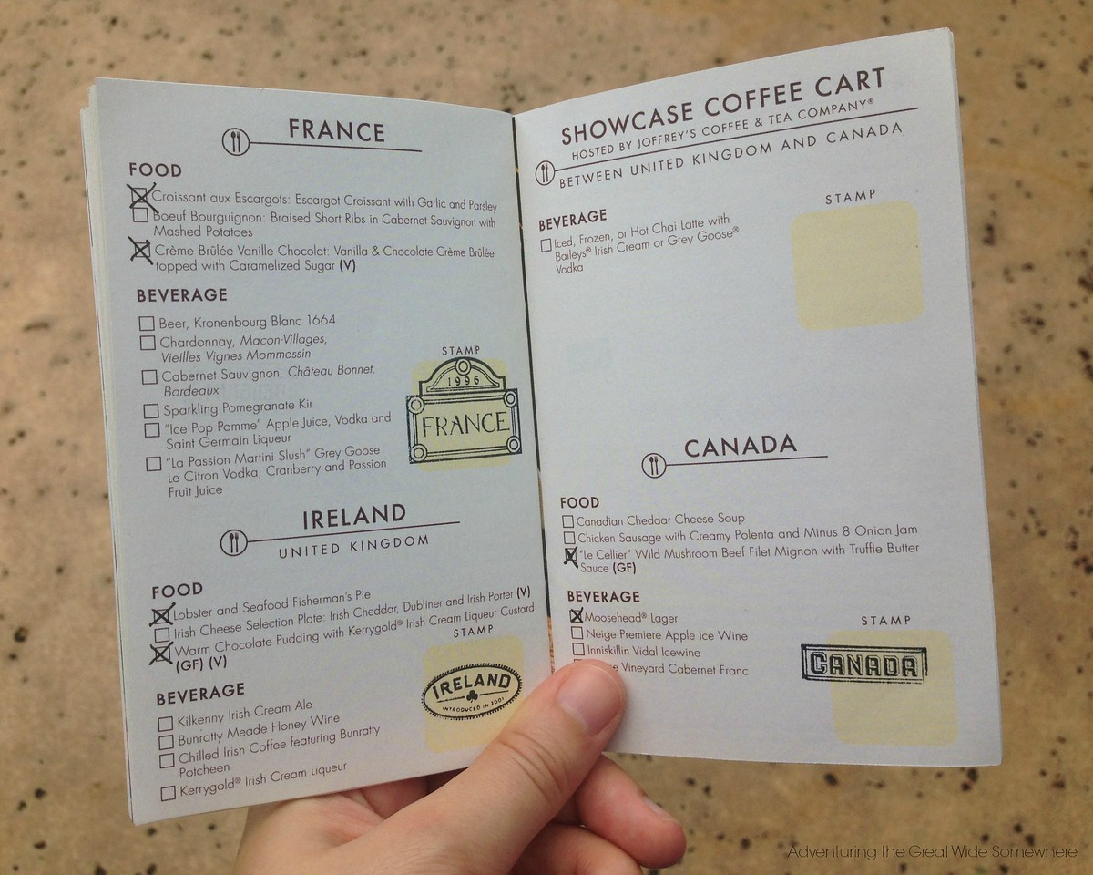 Stamp Pages in the 2015 Epcot International Food and Wine Festival Passport Book