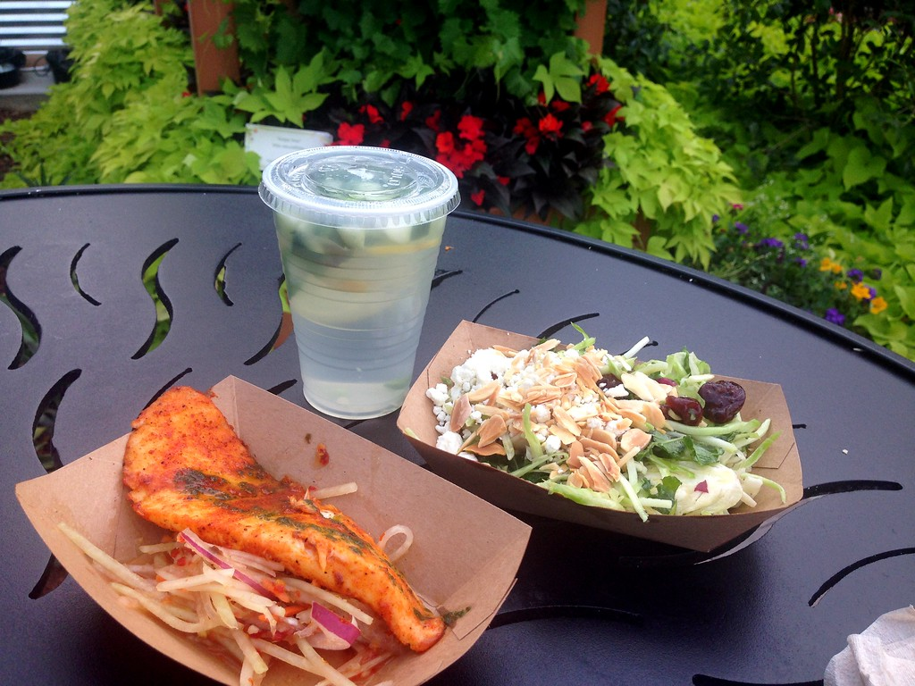 Ghost Pepper Tilapia, Kale Salad and Cucumber Lemon Spa Water from the Urban Farm Eats Booth at the 2015 Epcot International Flower and Garden Festival