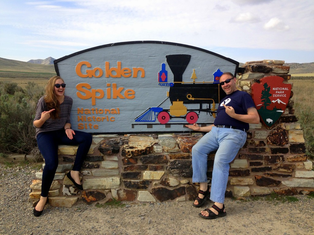 Michelle and Dad Being Cheesy With the Golden Spike National Historic Site Sign
