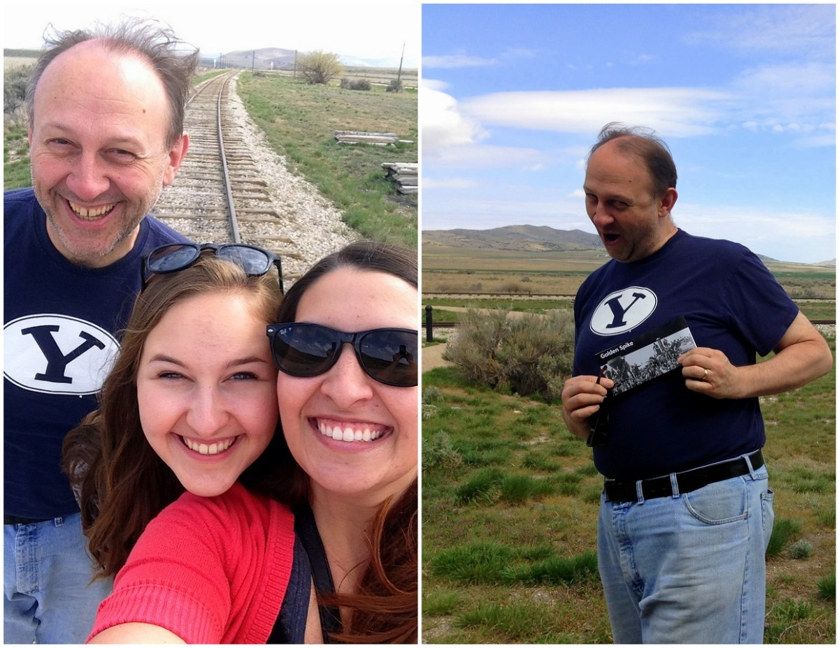 Being Cheesy with Dad and Michelle on the Railroad Tracks of the Golden Spike National Historic Site in Promontory, Utah