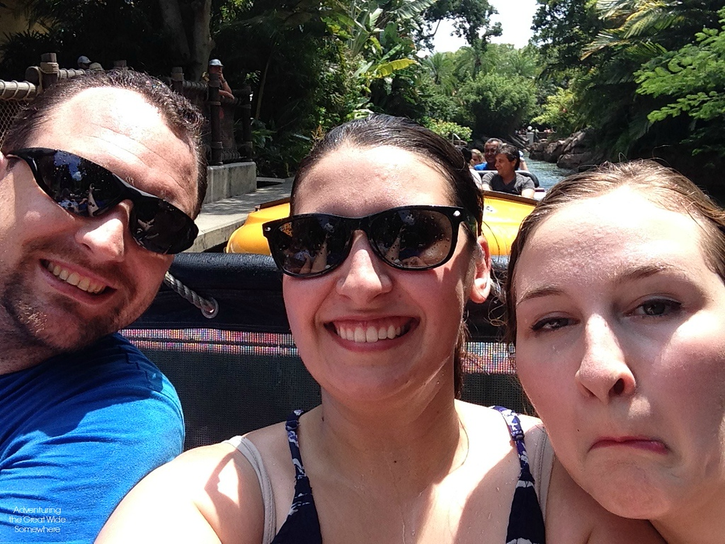 Wet Selfie of Dan, Michelle and I on Jurassic Park River Adventure