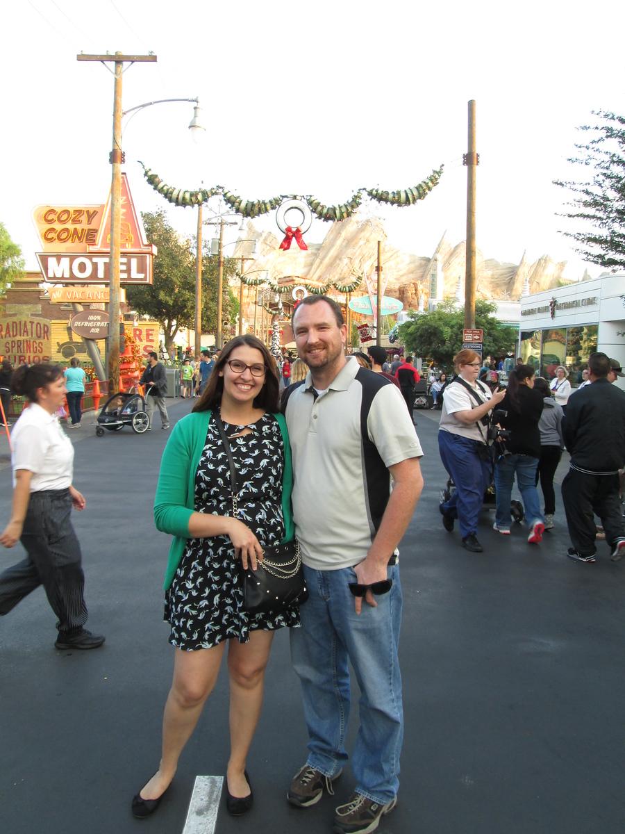 Dan and I at Cars Land at Disney's California Adventure Theme Park