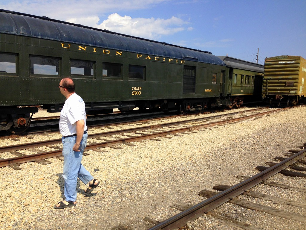 Dad Checking Out an Old Union Pacific Train at the Heber Valley Historic Railroad in Utah