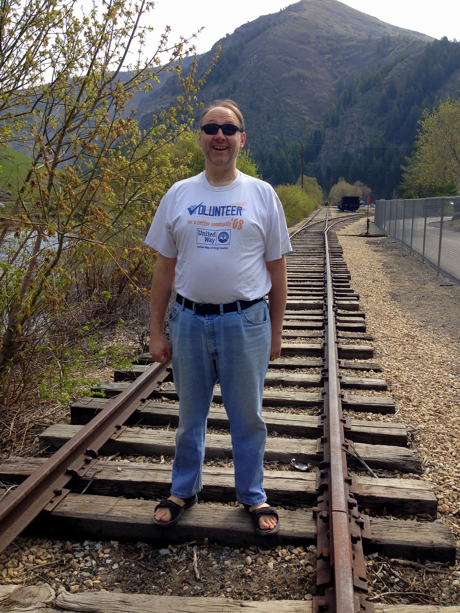 Dad on the Heber Valley Railroad Tracks in Vivian Park, Utah