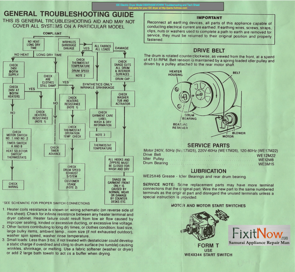 medium resolution of frigidaire refrigerator model frt21tngw1 wiring diagram ge electric dryer model dbxr453evoww troubleshooting and tech sheet