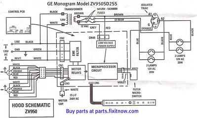 ge refrigerator wiring diagram two way dimmer switch diagrams and schematics appliantology monogram vent hood model zv950sd2ss schematic
