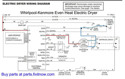 whirlpool dryer wiring diagram 1983 toyota pickup tail light diagrams and schematics appliantology kenmore even heat schematic with motor power circuit highlighted