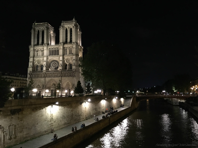 Notre Dame Cathedral and the Seine River, Taken at Night