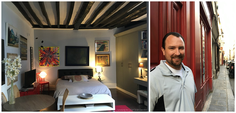 Interior view of our Parisian Airbnb in le Marais, and Dan just outside the front door.