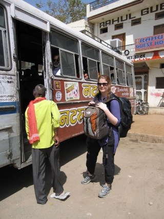 taking the bus to pushkar