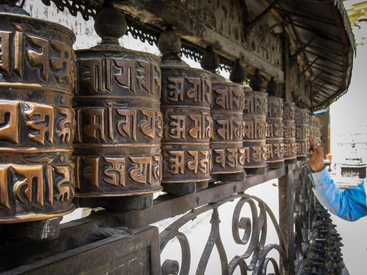 Prayer wheels spinning in Kathmandu