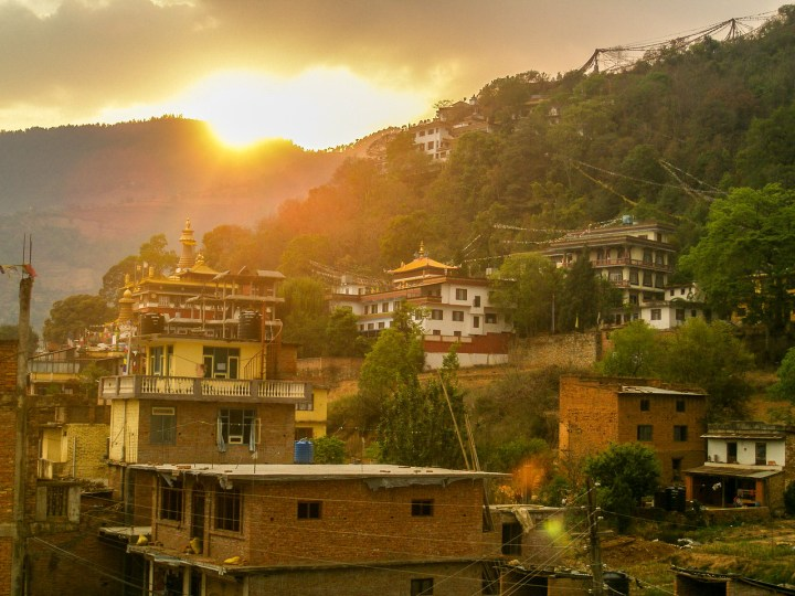 Pharping Nepal at sunset