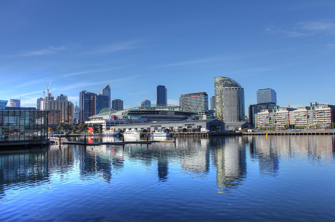 Melbourne CBD from Docklands in Melbourne, Australia