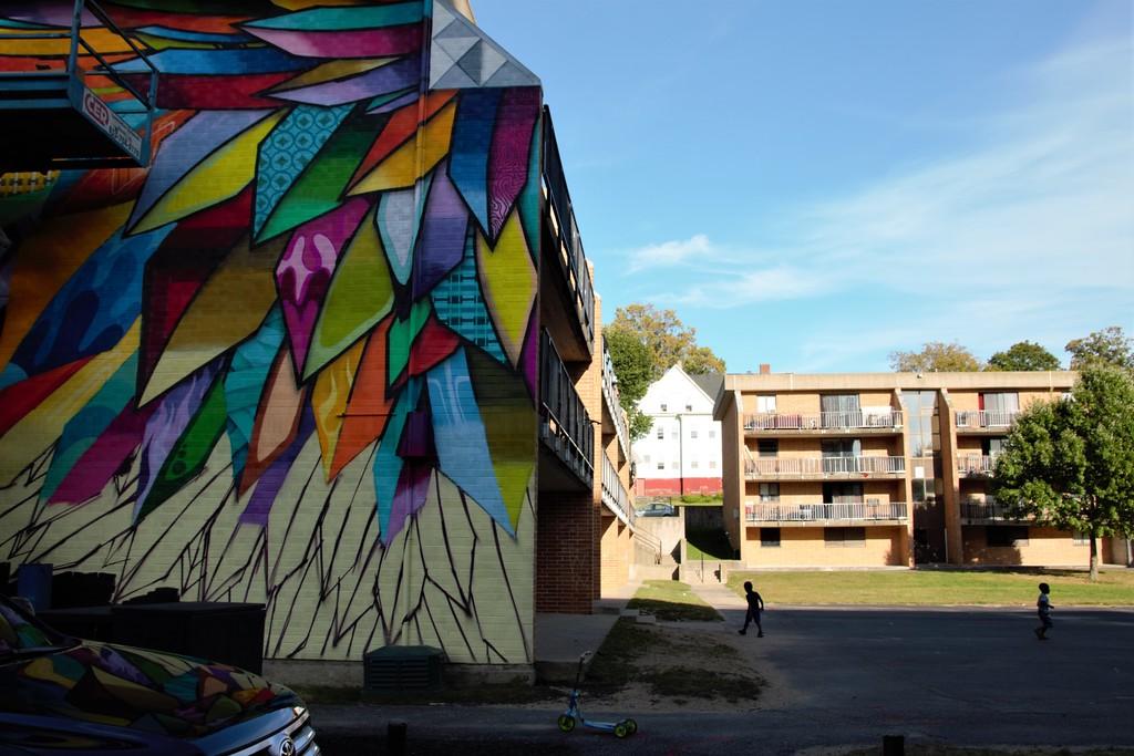 Wings street art mural at POW!Wow! Worcester Massachusetts