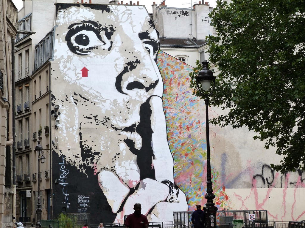 Classic Giant Face Mural by Jef Aérosol in Paris