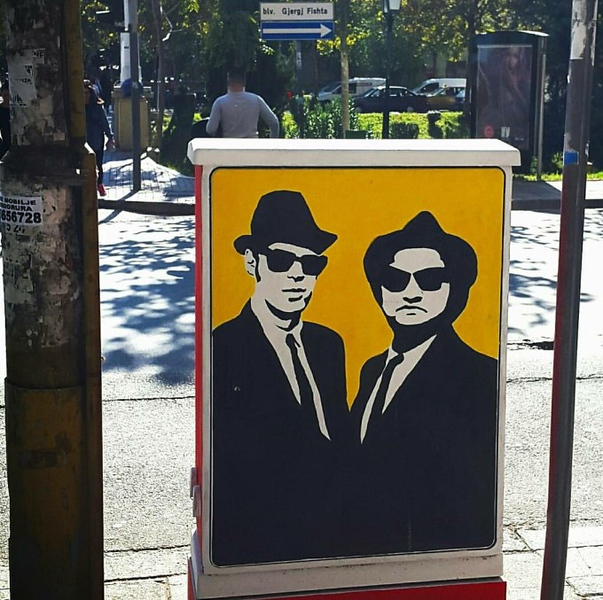 Blues Brothers Street Art in Albania - StreetArtChat.com
