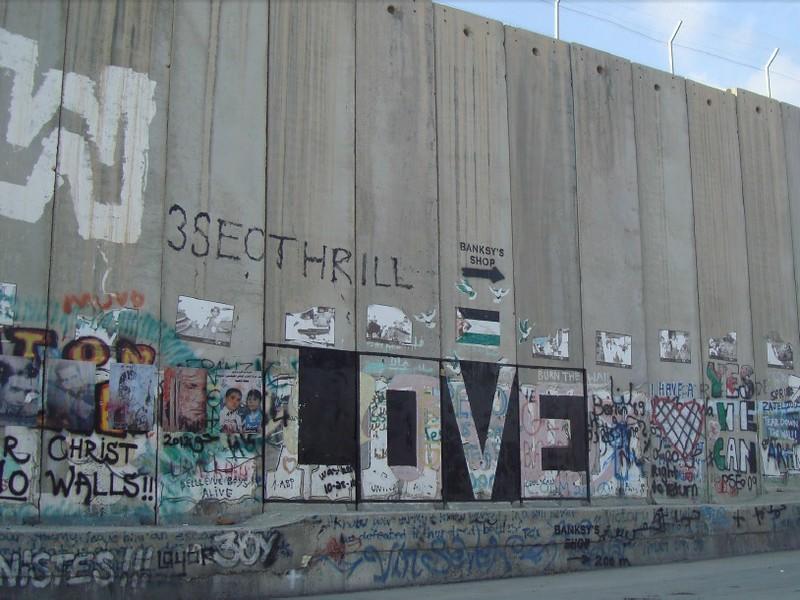 Love street art mural in Palestine