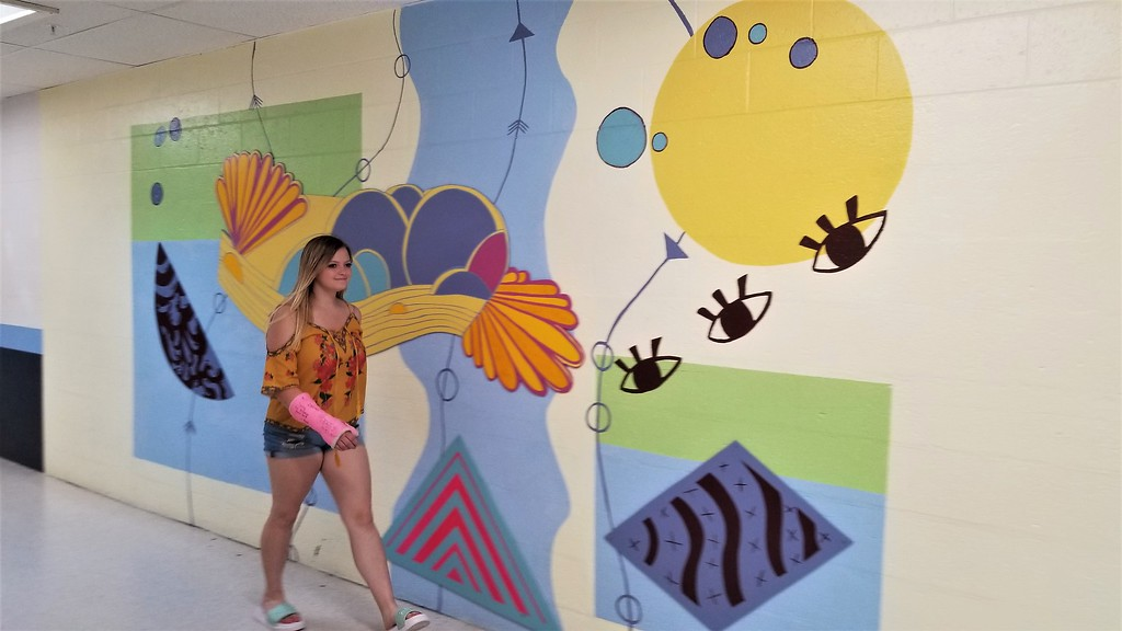 mural in Rockland Maine high school