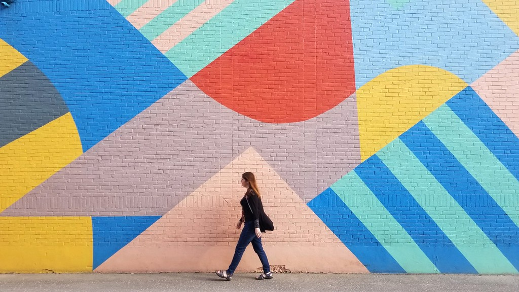 walking by mural street art in Rockland Maine