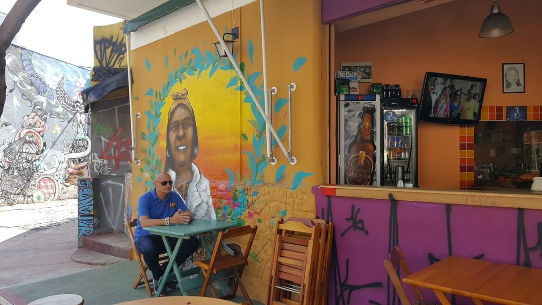 Scott relaxing in a Brazilan cafe