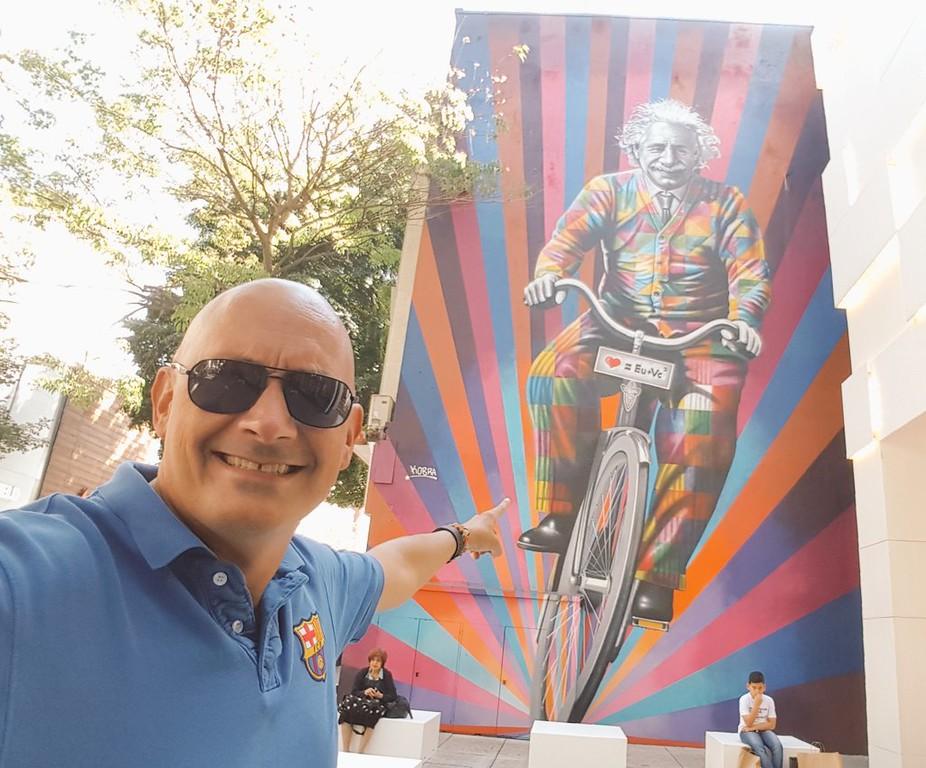 Einstein riding a bike mural